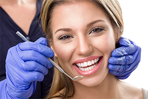 woman dental visit white teeth